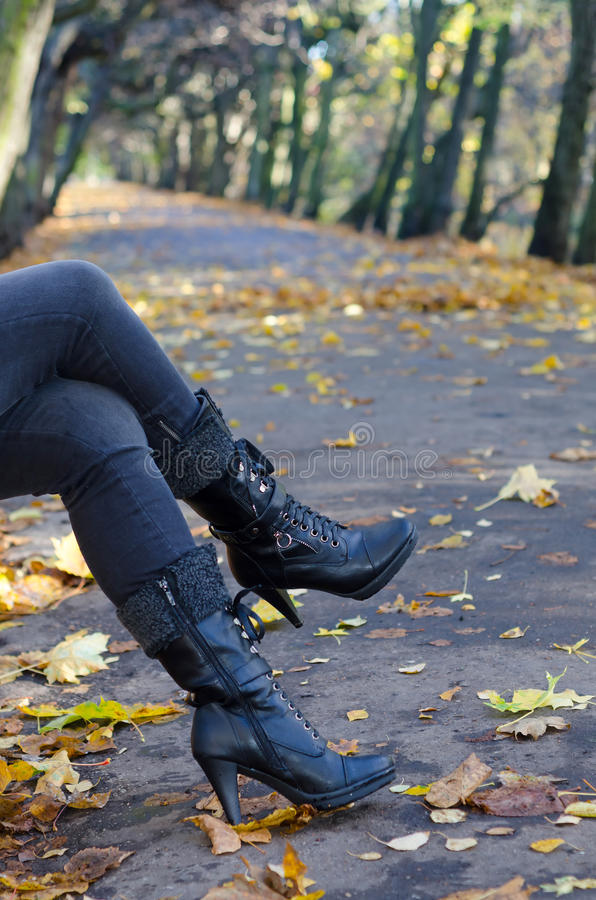 Download Autumn women's fashion stock photo. Image of leaves, alley - 27406518
