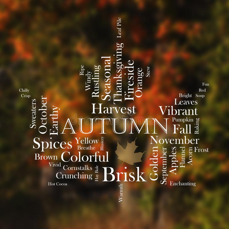 Autumn word cloud in the shape of a leaf stock photo