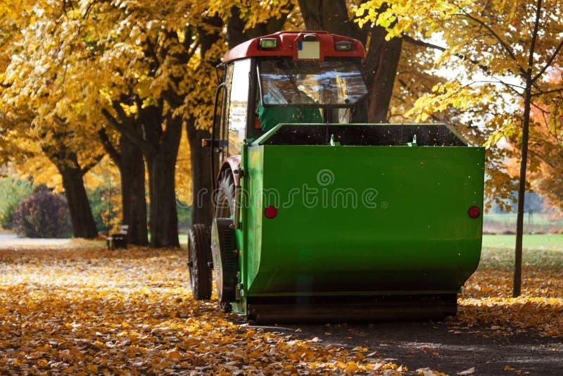 Autumn works in park stock photos