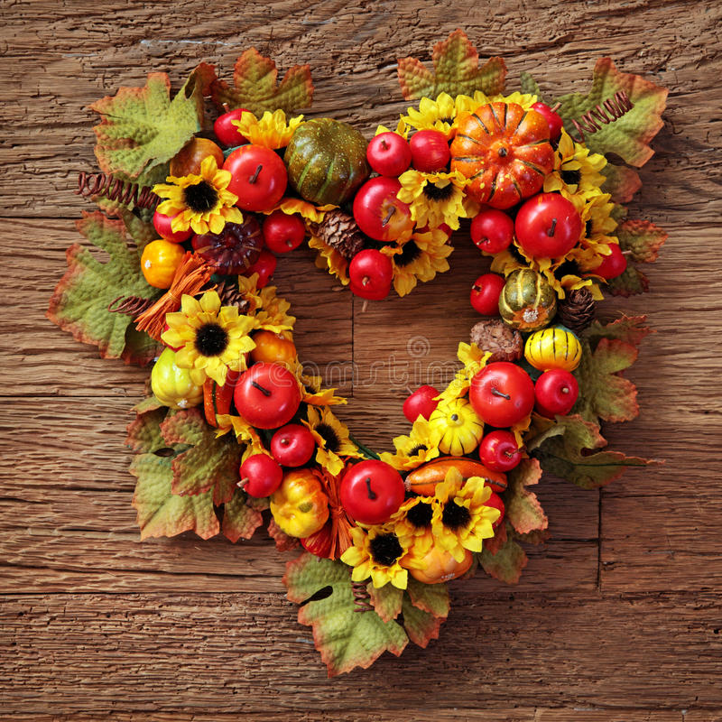 Download Autumn wreath stock image. Image of sunflower, fall, squash - 24822783