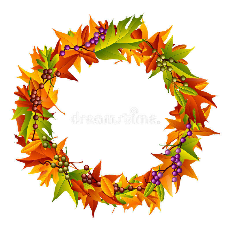 Autumn Wreath. A colorful Thanksgiving and autumn inspired wreath vector illustration