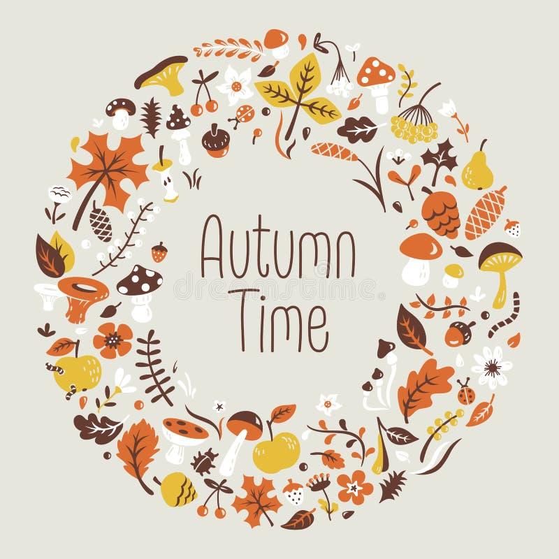 Download Autumn Wreath vektor abbildung. Illustration von gras - 47100642