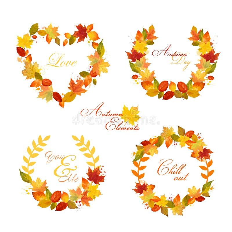 Autumn Wreath - banderas y etiquetas stock de ilustración