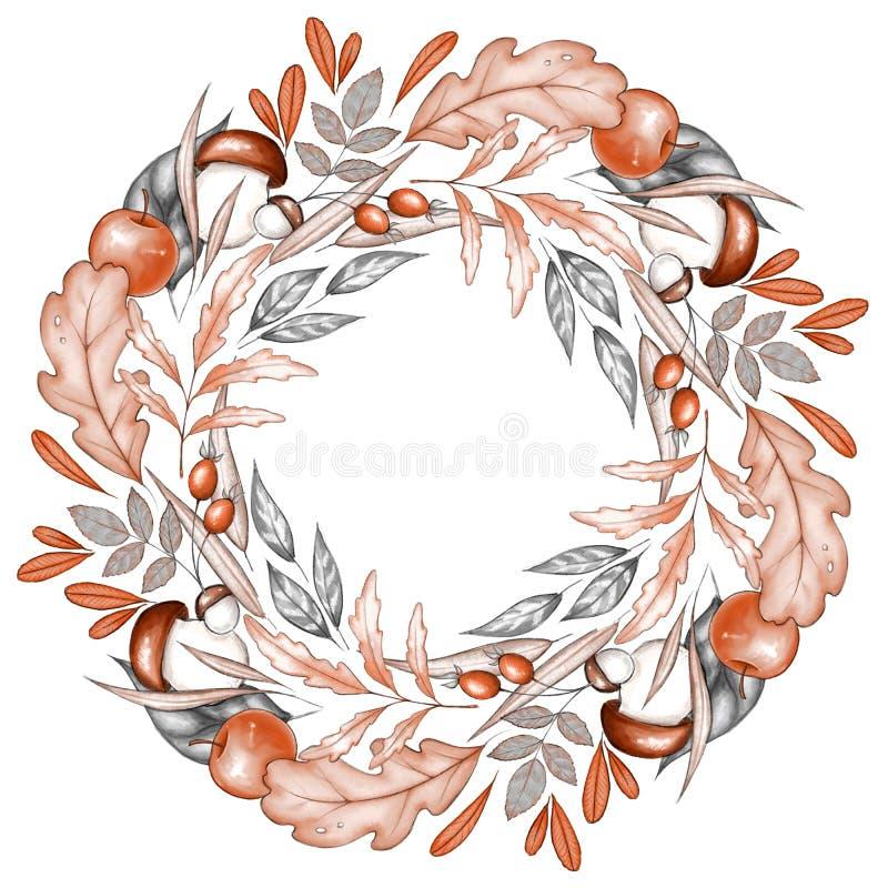 Autumn Wreath Fallande blad och frukt royaltyfri illustrationer
