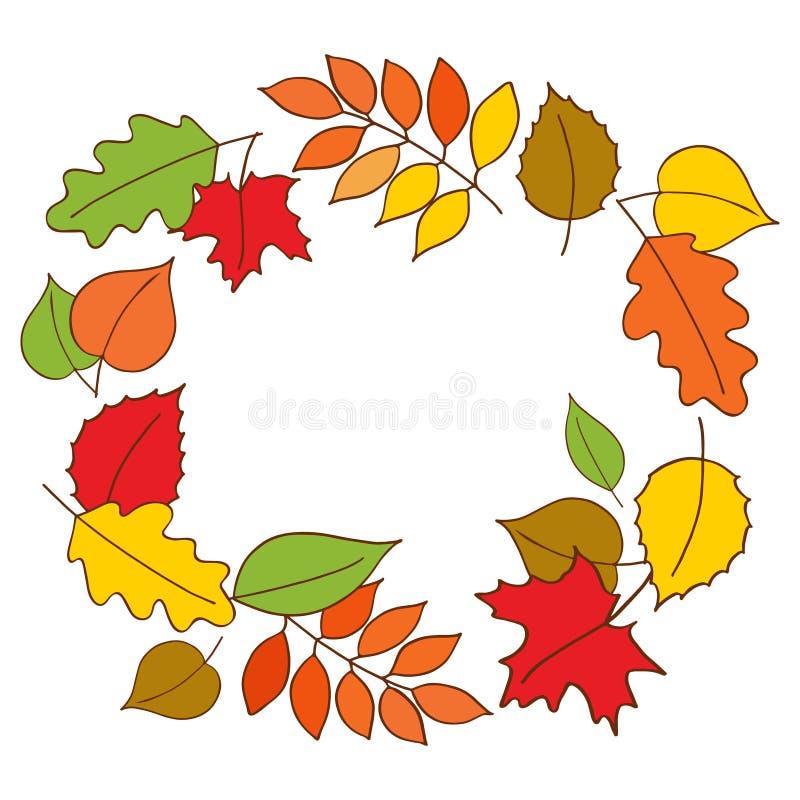 Autumn Wreath Kleurrijke de herfstbladeren in vorm van slinger op witte achtergrond Hand getrokken illustratievector vector illustratie