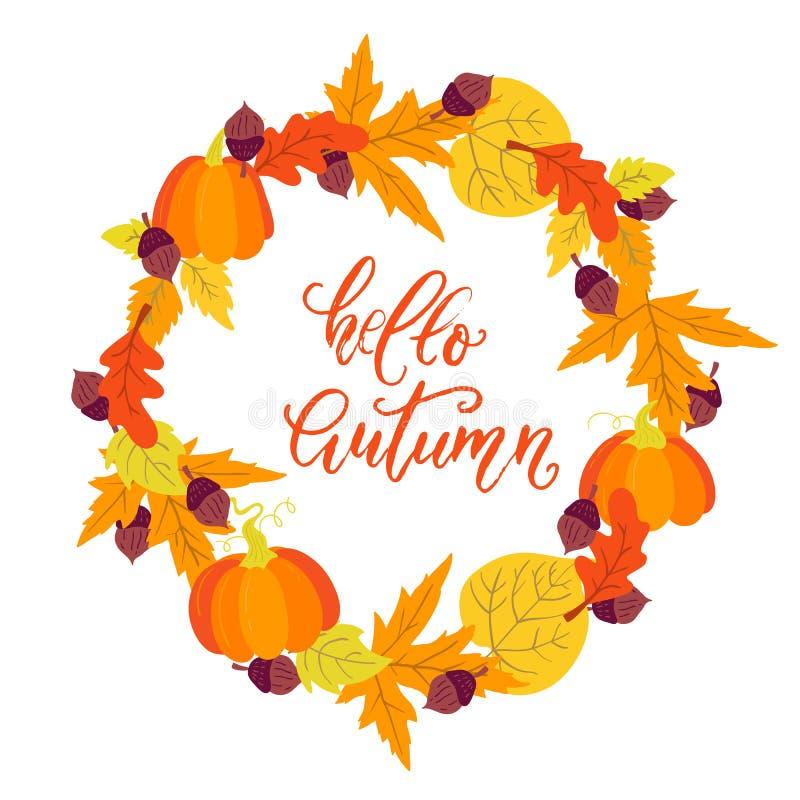 Autumn wreath with pumpkins, acorn, aspen,oak and maple leaves. Vector Autumn wreath with pumpkins, acorn, aspen,oak and maple leaves on white background. Hello royalty free illustration