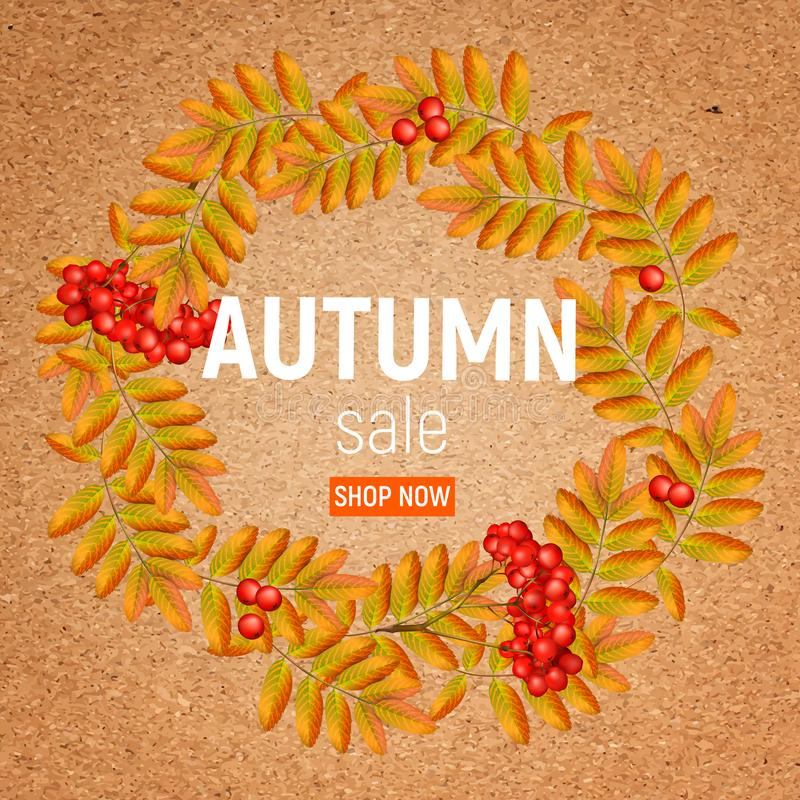 Autumn wreath with rowan, leaves and ashberry on a crafting paper. Beautiful greeting card with a wreath of realistic 3d. Autumn wreath with rowan, leaves and stock illustration