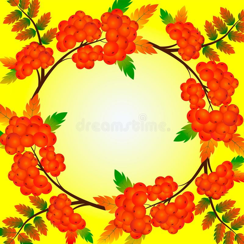 Autumn wreath with rowan and leaves isolated on yellow background. Beautiful greeting card with a wreath of realistic 3d stock illustration