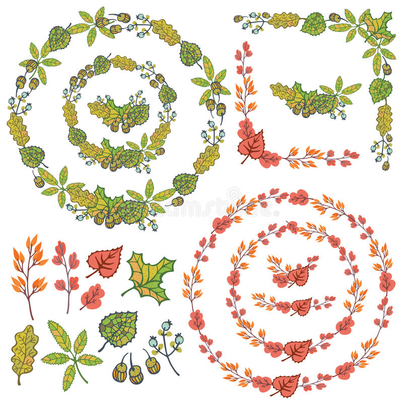 Autumn wreath set. Leaves, berries,branches. Bright autumn leaves in composition. Vector illustration stock illustration