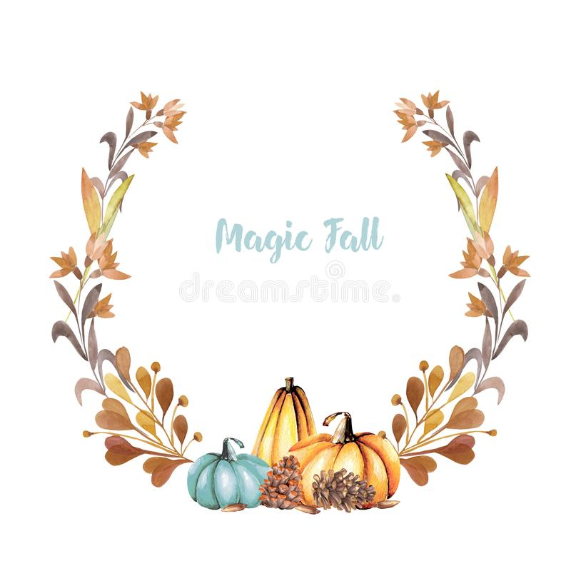 Autumn wreath with watercolor pumpkins fall flowers branches and download autumn wreath with watercolor pumpkins fall flowers branches and fir cones stock illustration mightylinksfo