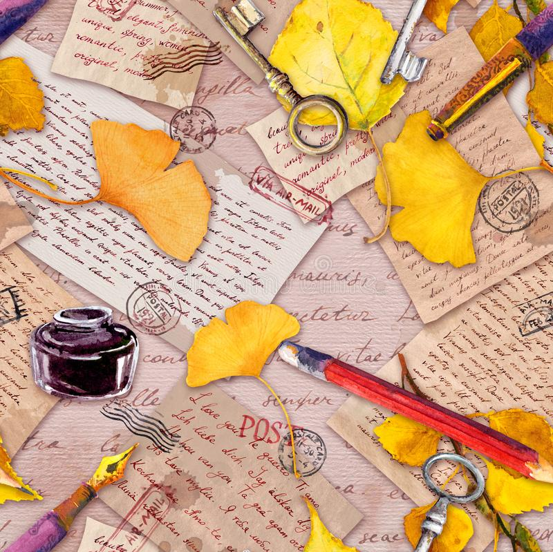 Autumn yellow leaves, old paper, letters, hand written notes and vintage keys, pen, pencil, ink bottle. Seamless pattern royalty free illustration