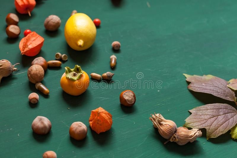 Autumn yellow and Red leaves and fruits on a green background. Autumn yellow and Red leaves and fruits green background royalty free stock images