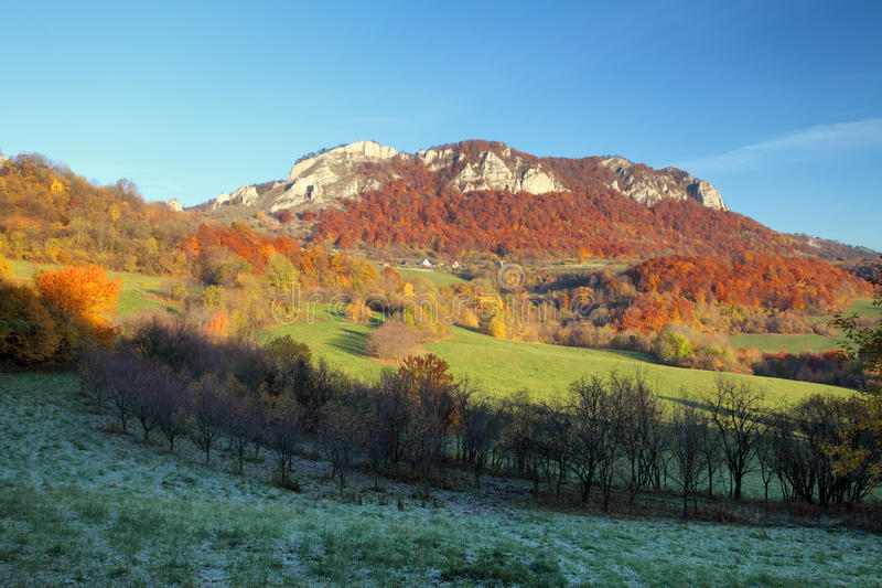 Autumna view of Vrsatec and Vrsatecke Podhradie village - Slovak. Ia royalty free stock image
