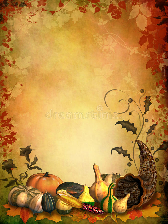 Autumnal background with cornucopia vector illustration