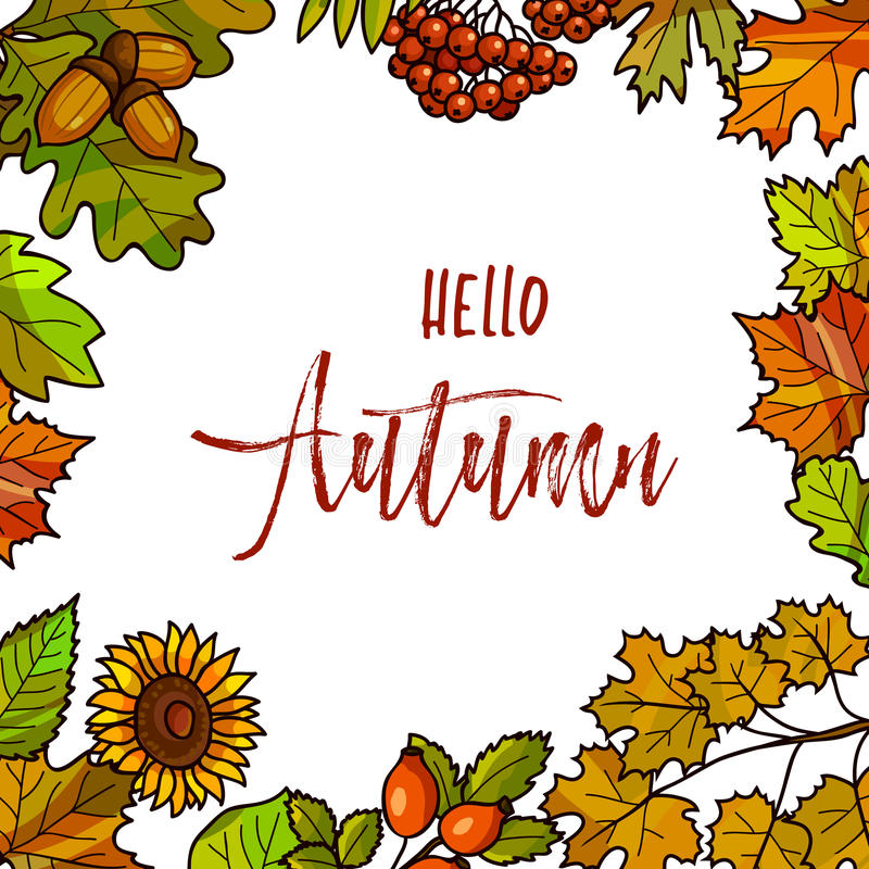 Autumnal or fall round frame background. Wreath of autumn leaves. Vector illustration stock illustration
