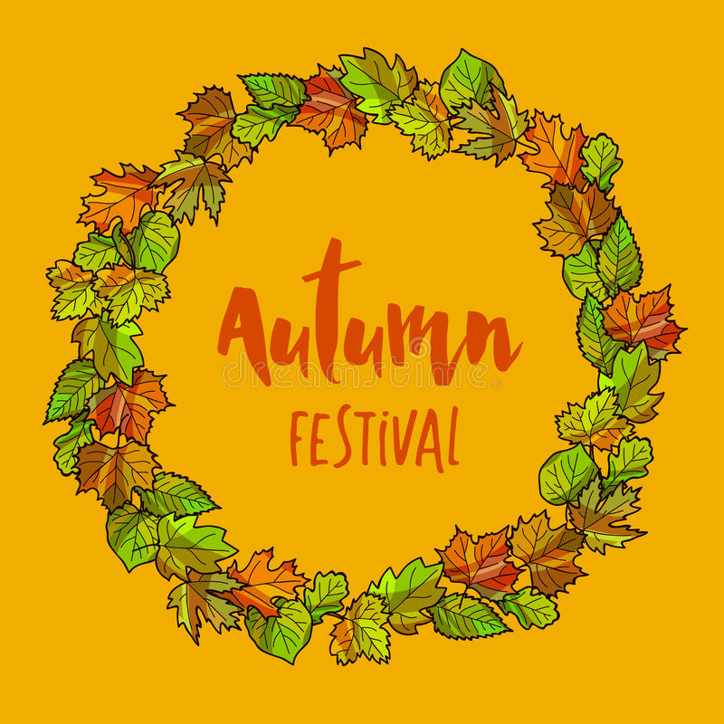 Autumnal or fall round frame background. Wreath of autumn leaves. Vector illustration royalty free illustration