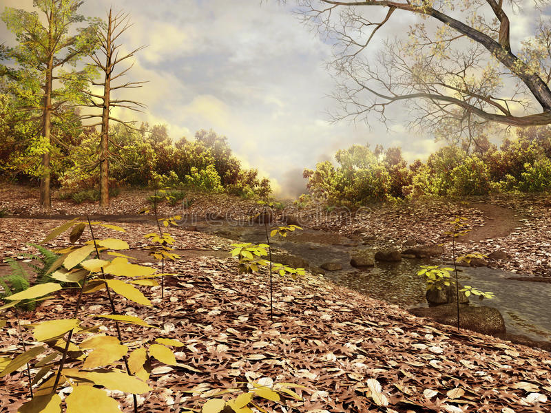 Download Autumnal Forest With Leaves Stock Images - Image: 26395854