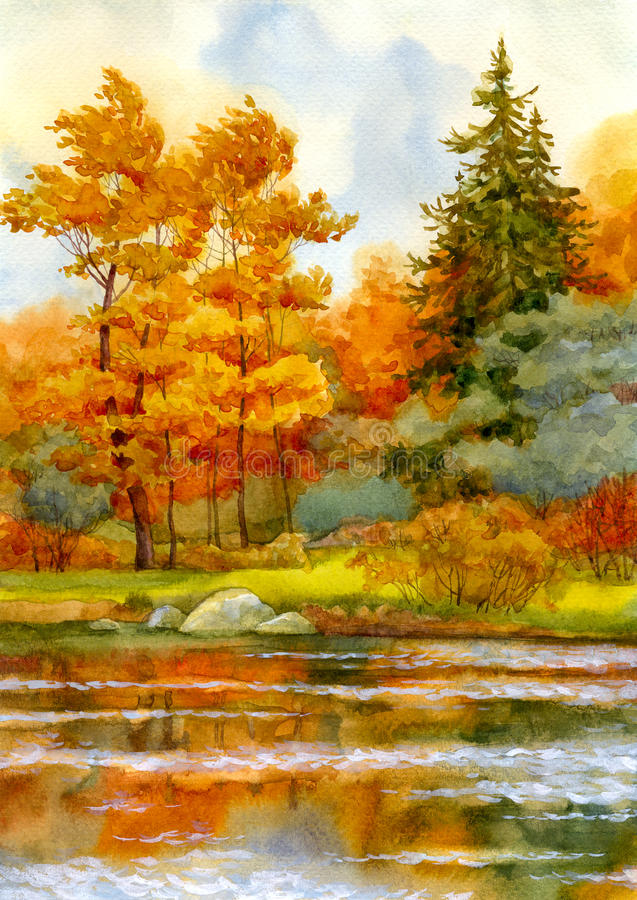 Free Autumnal Forest On The Lake Royalty Free Stock Image - 14955346