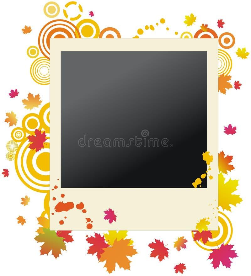 Autumnal grunge polaroid photo frame vector illustration