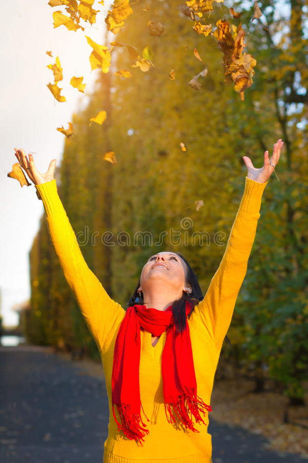 Download Autumnal Happiness With Leaves Stock Image - Image: 27383881