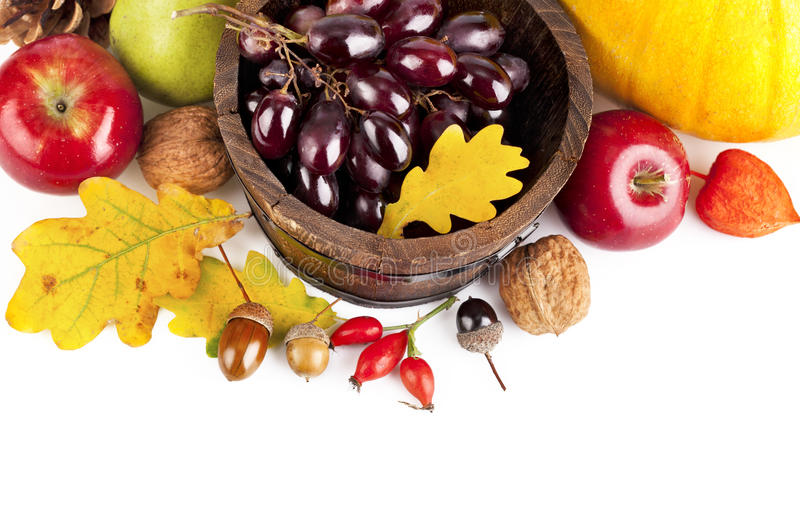 Autumnal harvest fruits and vegetables stock images