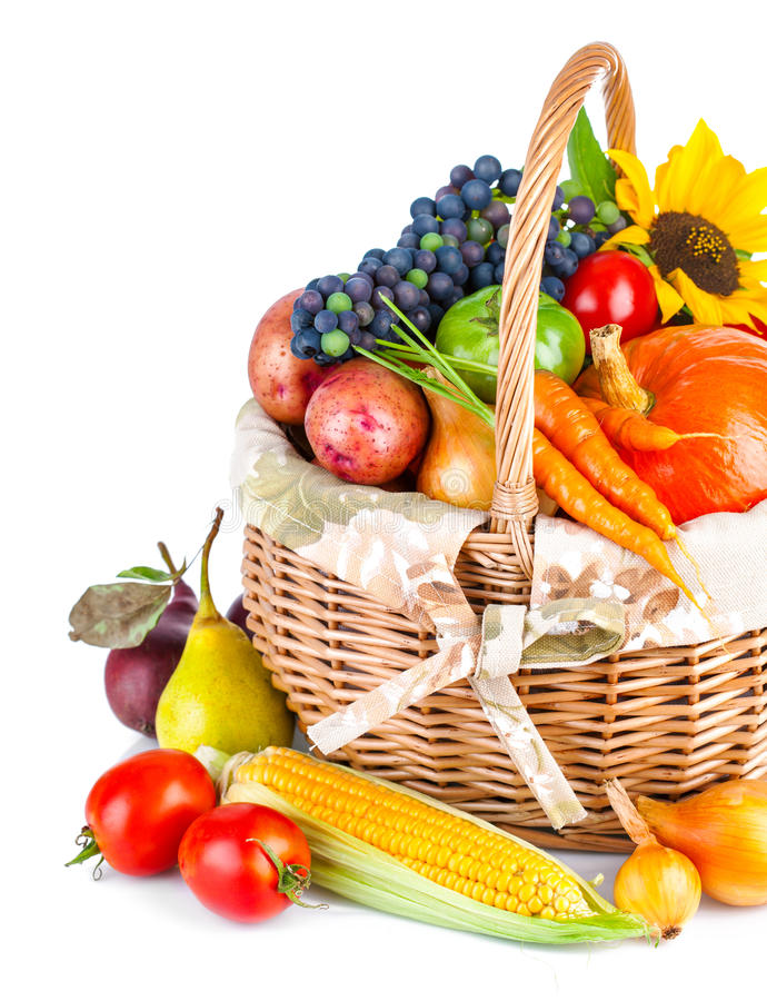 Download Autumnal Harvest Vegetables And Fruits In Basket Stock Image - Image: 42819419