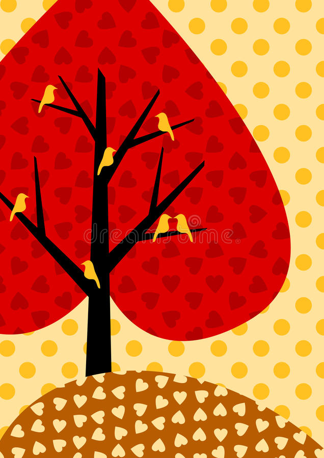 Download Autumnal Heart Tree Greeting Card Stock Illustration - Illustration: 27036246