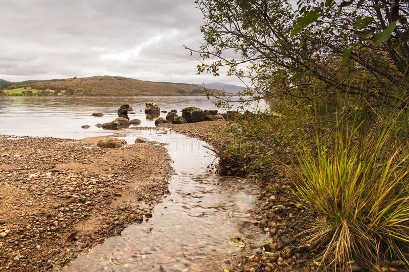 Loch Rannoch Burn. An autumnal image of Loch Rannoch from the south side, Perth and Kinross, Scotland. 18 October 2018 royalty free stock image