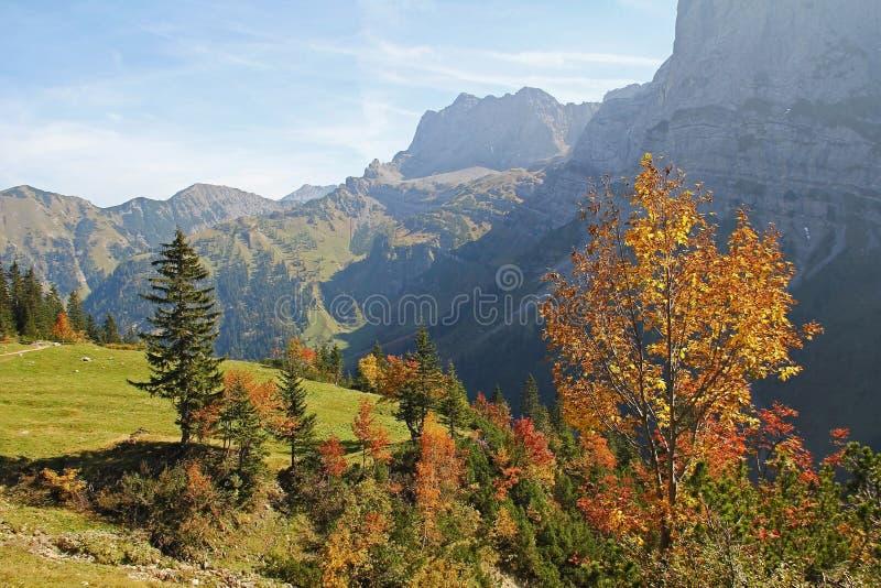 Autumnal karwendel valley, view to mountain range, austrian lan royalty free stock image