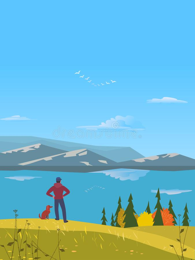 Autumnal lake landscape royalty free illustration