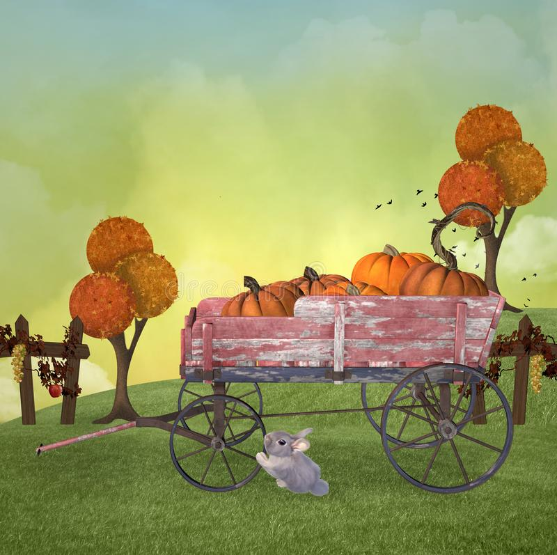 Autumnal landscape with a cart full of pumpkins vector illustration