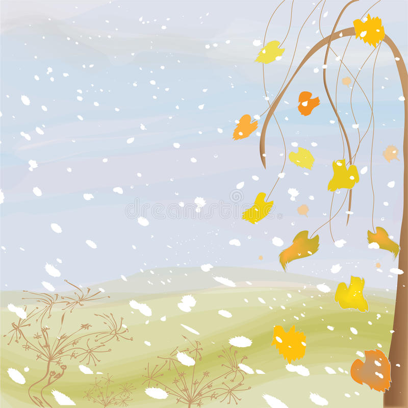 Autumnal landscape with cloudy sky royalty free illustration
