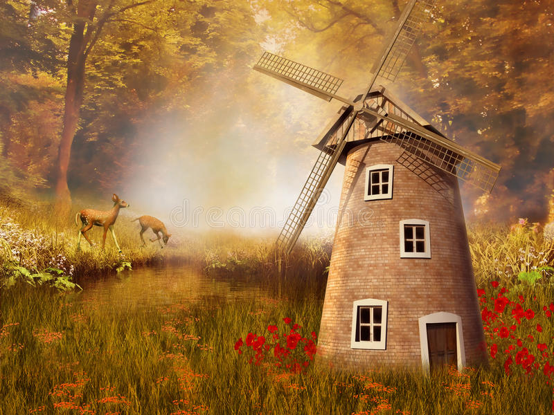 Autumnal landscape with a windmill vector illustration