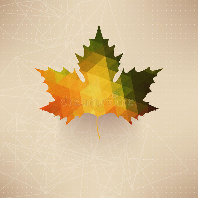 Free Autumnal Maple Leaf Background Made Of Triangles. Retro Background With Autumn Leaf. Label Design. Lettering. Geometric Shapes. S Royalty Free Stock Images - 39459969