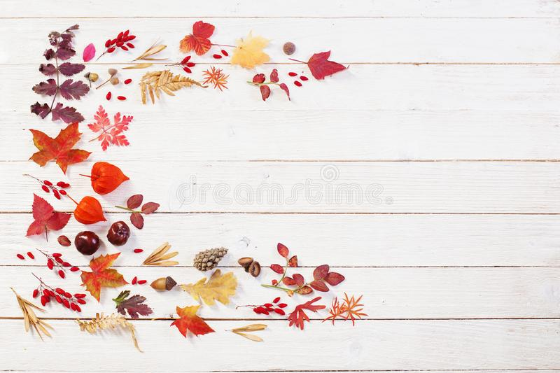 Autumnal natural wooden background with autumn decoration royalty free stock photos