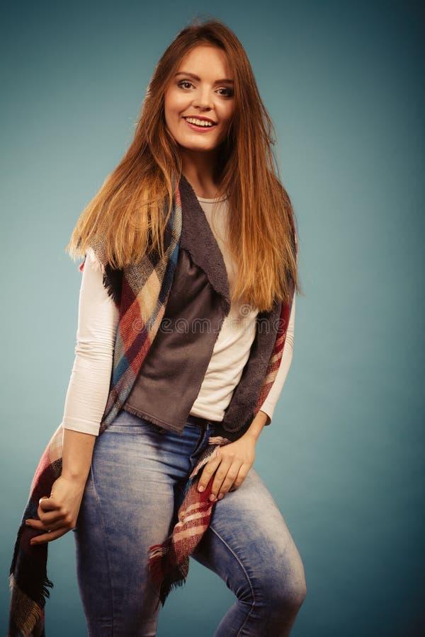 Positive girl in autumn season clothing stock photo