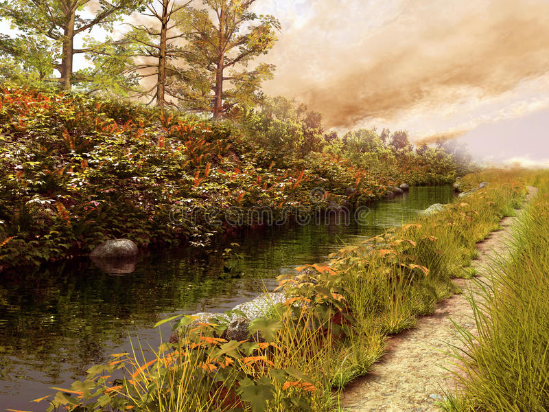 Autumnal river and path vector illustration