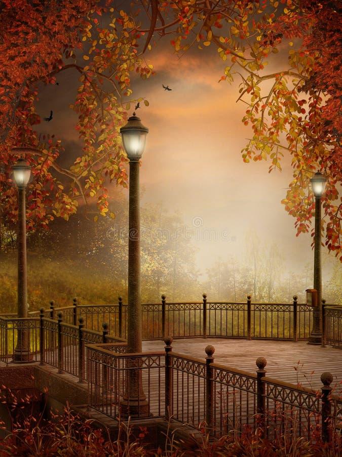 Autumnal scenery with lanterns stock illustration