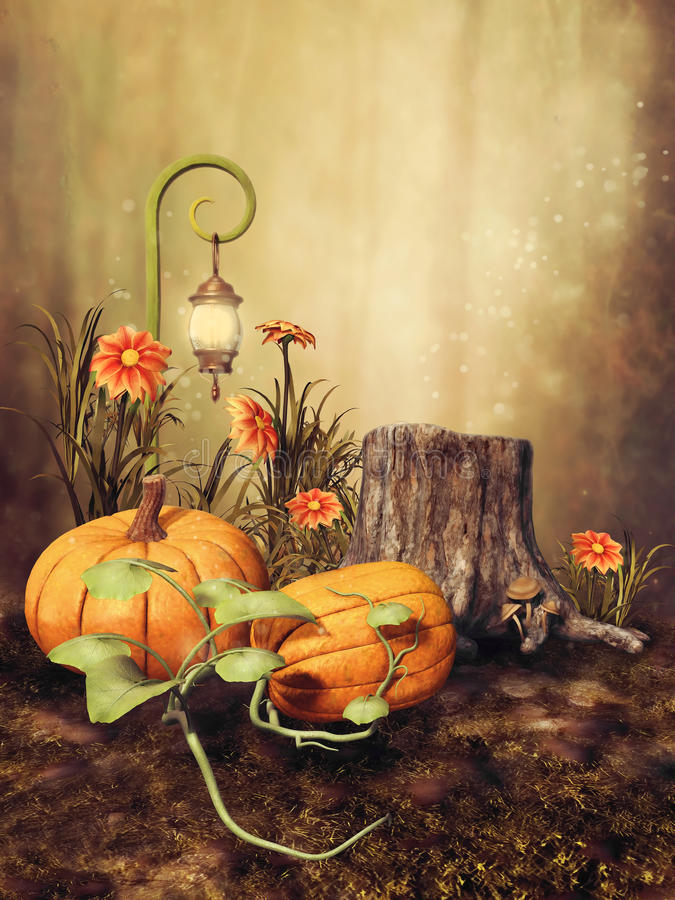 Autumnal scenery with pumpkins royalty free illustration
