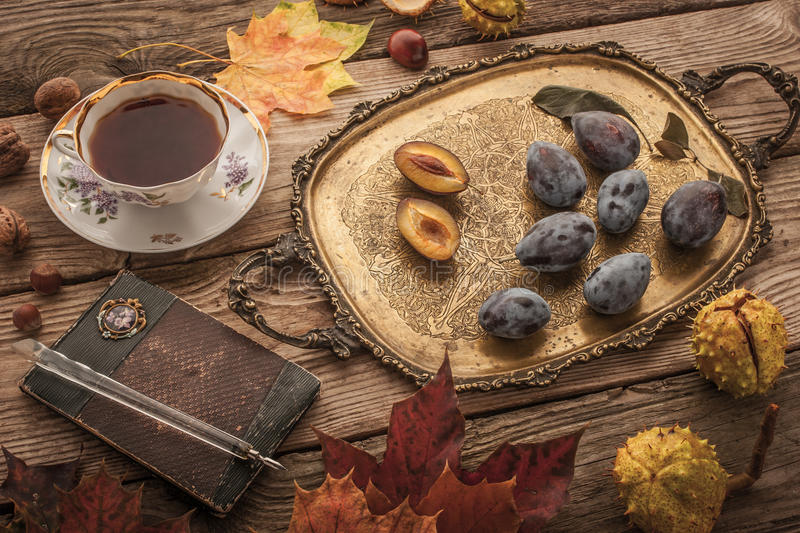 Autumnal still life with gift of nature , vintage notebook and tea with film filter effect stock photo