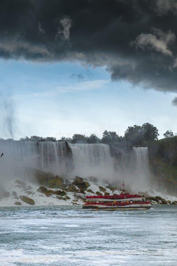 Heavy storm over Niagara falls stock image