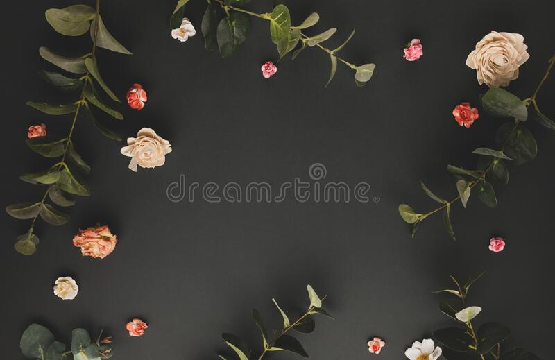 Autumnal-winter concept with dried flower, branches of eucalyptus, leaves and berries on dark background. Frame of plants. Flat royalty free stock image
