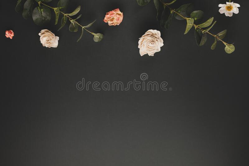 Autumnal-winter concept with dried flowers, branches of eucalyptus, leaves and berries on dark background. Frame of plants. Flat royalty free stock photo