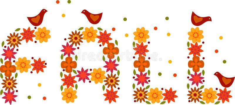 autumnflowtxtbirds royalty ilustracja