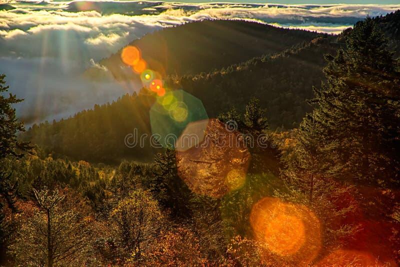 Autumng-Jahreszeit in den rauchigen Bergen stockfoto
