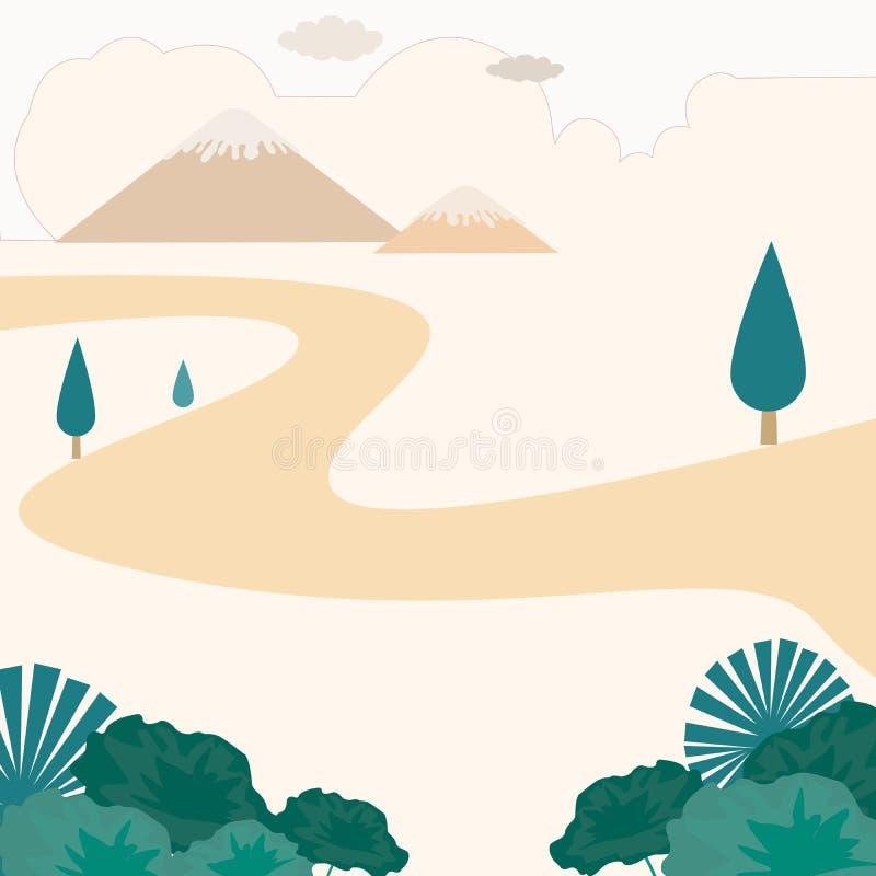 Autums-lanscape oder autum Jahreszeit oder autum Ansicht des grünen Blattes und des Berges mit Baum und orange Wolke 1 vektor abbildung