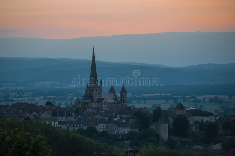 Autun. Is a commune in the Saône-et-Loire department in Burgundy in eastern France. Saint-Lazare cathedrale in the evening royalty free stock photos