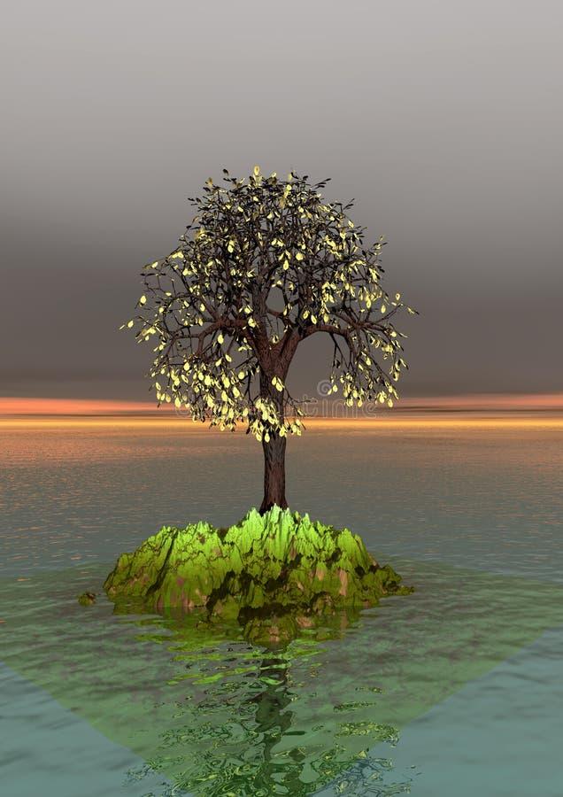 Autunno, albero solo illustrazione di stock
