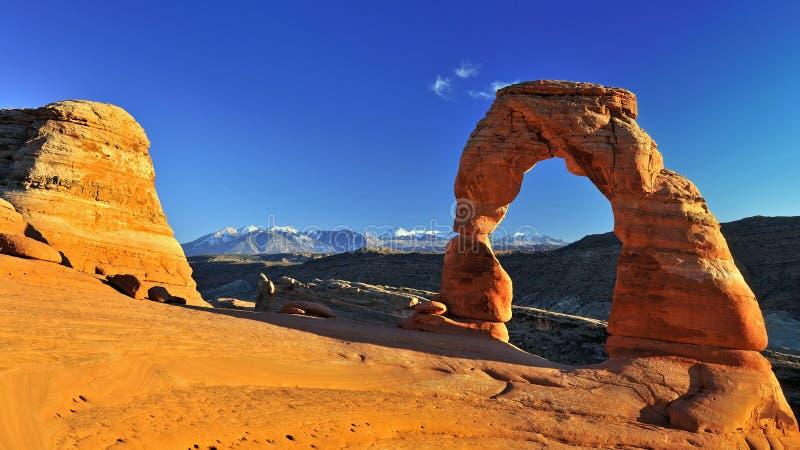 Autunno all'arco delicato, arché parco nazionale, Utah, U.S.A. fotografie stock libere da diritti