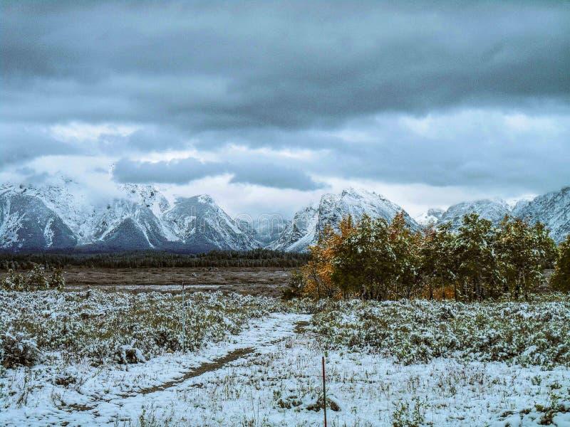 Autunno alla scena di inverno da Jackson Lake Lodge, WY immagine stock